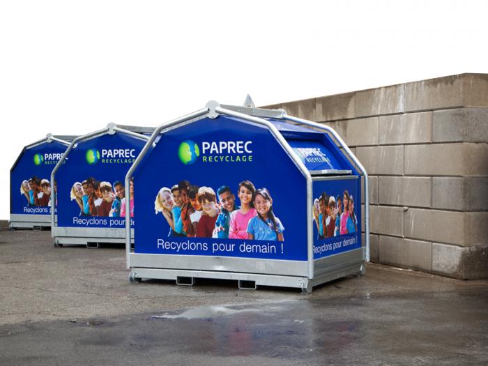 Photo d'une borne de recyclage Paprec