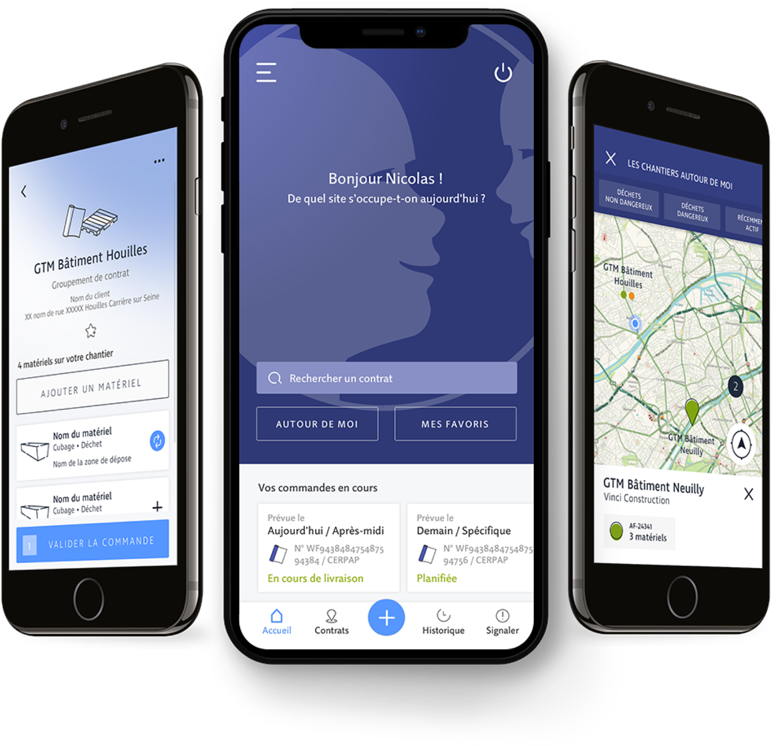 Présentation de trois smartphones avec l'application Paprec&Click